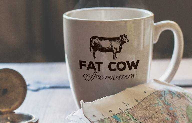 Fat Cow Coffee Roasters: Logo Branding and Print Packaging